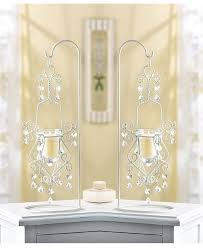 2 white crystal beaded shabby hanging chandelier candle holder stand wedding 1 of 3only 3 available