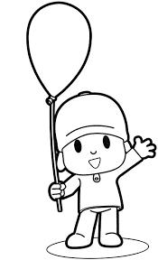 Disegno Di Pocoyo Con Il Palloncino Ci Saluta Da Colorare