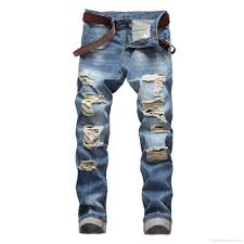 Light Blue Jeans Streetwear 2019 Denim Trousers High Quality Straight Jeans Washed Ripped Holes Button Light Blue Slim Fit Jeans Streetwear Men Cowboy Pants Sale From