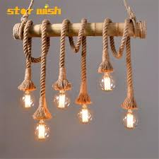 rope pendant star wish bamboo hemp rope pendant lights creative restaurant decoration lamps retro bar table rope pendant