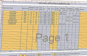 Generator Kva Chart Load Listing Calculations And Generator Sizing Spreadsheet