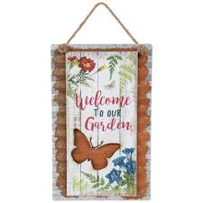 welcome to our garden metal wall decor