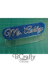 acrylic blank desk name plate blue glitter