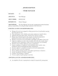 Store Manager Job Description Resume - Outathyme.com