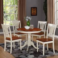 east west furniture anpl antique round table dining set with wood seat chairs