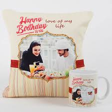 romantic personalized mug n cushion gifts delivery