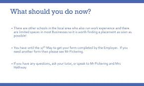 Questions To Ask On Work Experience Careers Year 10 Work Experience Abbeyfield School