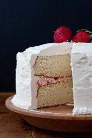 White Cake With Strawberry Filling And Strawberry Vanilla Buttercream Frosting