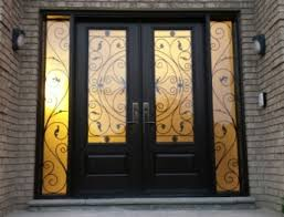wrought iron exterior doors. Front Entry Wrought Iron Woodgrain Fiberglass Double Doors With 2 Side Lites Installed In Thornhill Exterior