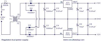 regulated dual power supply circuit electronic circuits and regulated dual power supply circuit