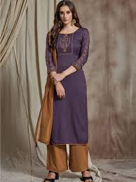 Purple Colour Designer Partywear Embroidered Silk Suit