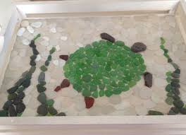 glueing sea glass turtle
