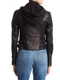 a l c black knight leather hooded moto jacket lyst view fullscreen