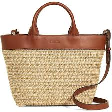 brooks brothers small leather and straw tote 298