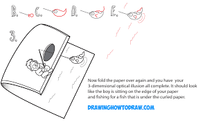 learn how to draw cartoon boy fishing on dock optical illusion with folded over paper