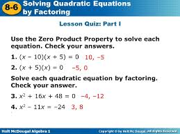 lesson quiz part i use the zero property to solve each equation check