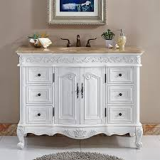 Silkroad Exclusive Ella Antique White Undermount Single Sink Bathroom Vanity  with Travertine Top (Common: