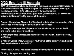221 English Iii Agenda Tsw Utilize Context Clues To Determine The