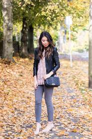 blush lace top blanknyc faux leather jacket peplum top grey jeans outfit