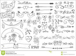 Doodling Designs Templates Wedding Ribbons Swirl Borders Decor Set Doodle Stock Vector