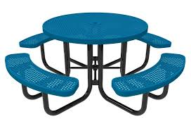 elite series round picnic table thermoplastic perforated metal