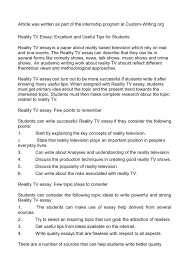 reality tv essay excellent and useful tips for students