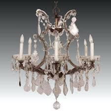 glass chandelier crystal maria 6 light w prisms fixture bird cage birdcage mercury crystals