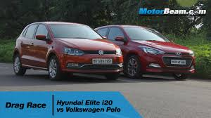 Hyundai Elite i20 vs Volkswagen Polo - Drag Race | MotorBeam - YouTube