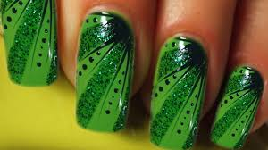 Green Glitter Stripes And Dots Design Nail Art Tutorial