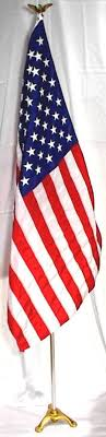 American Flag Mounted Set For Stage Court Room Altar Office Parade