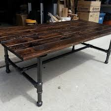 Industrial Pipe Coffee Table Rustic Coffee Table With Pipe Base Ebay