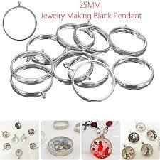 10x 25mm silver base blank bezel cabochon setting jewelry round pendant trays