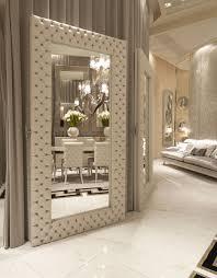 luxe italian designer tufted leather floor mirror  custom quotes