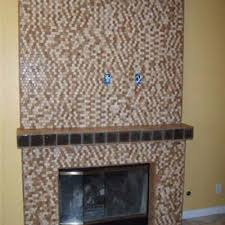 glass tile fireplace