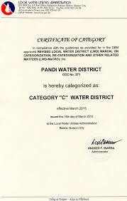 Certificate of Category - Pandi Water District