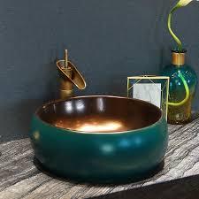 Round sink bowl White Porcelain Luxurious Gold Green Porcelain Bathroom Vanity Bathroom Sink Bowl Countertop Round Ceramic Wash Basin Bathroom Sink Aliexpress Luxurious Gold Green Porcelain Bathroom Vanity Bathroom Sink Bowl