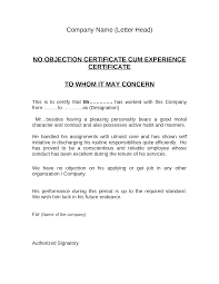 Noc Experience Certificate Documents