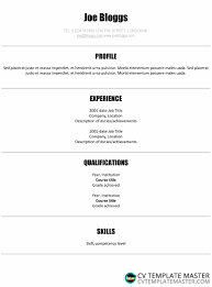 Simple Ats Friendly Centred Cv Template With A Crisp Font Cv