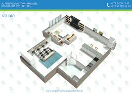 D Floor Plans Of Al Reef Downtown Studio Apartment Al Reef - Studio apartment floor plans 3d