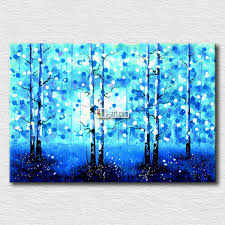 blue background plant oil painting landscape canvas prints high quality wall paintings for living room wall