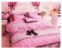 black and pink eiffel tower girls lace tubble ruffle bowtie bedding intended for comforter set full