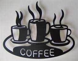 on wall art kitchen coffee with coffee cups 0n platter kitchen metal art