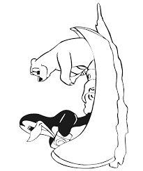 Small Picture Penguin and Polar Bear Coloring Page rowing a canoe