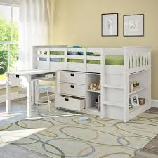corliving madison single twin loft bed with desk and storage white