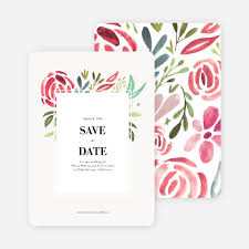 Save The Dates Wedding Strokes Of Floral Wedding Save The Date Cards Paper Culture