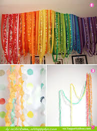 paper streamer decorations 1 and 2 rainbow colored pinched streamers