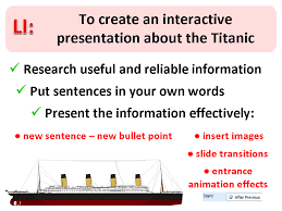 creating non linear information powerpoints simon haughton s website  the titanic disaster is one of the more interesting topics of history for children to learn about and so they all seemed quite motivated and engaged when
