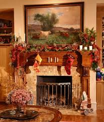 Interesting Christmas Mantel Decorations Ideas With Pine Garland And  Beautiful Stocking ...