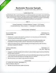 Server Resume Objective Samples Example Bartender Resume Server