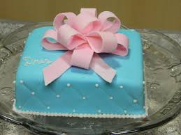 Simple Blue Square Cake With Bow Cakecentralcom